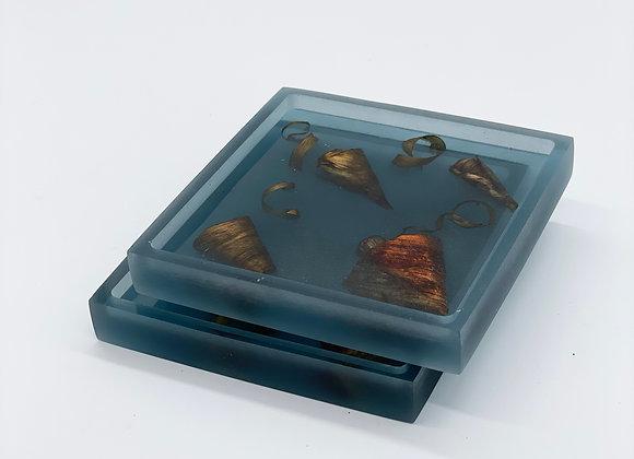 Coaster / Tray Set (2)   Blue Resin + Maui Mango & Maui Brewing Co. Barrel Curls