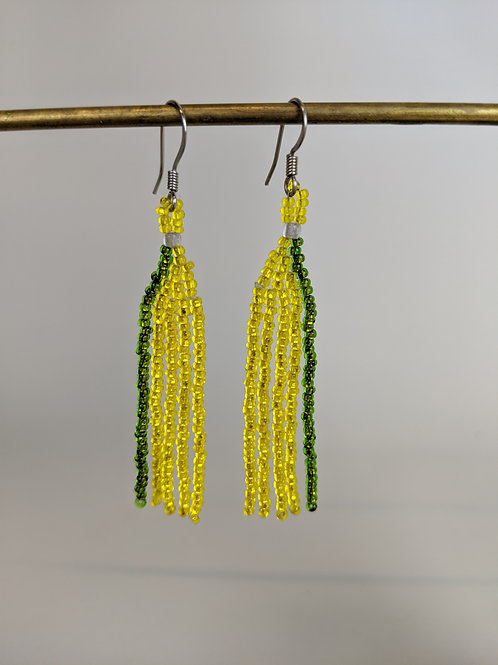 Le'ale'a | Green-Yellow | Beaded Earrings