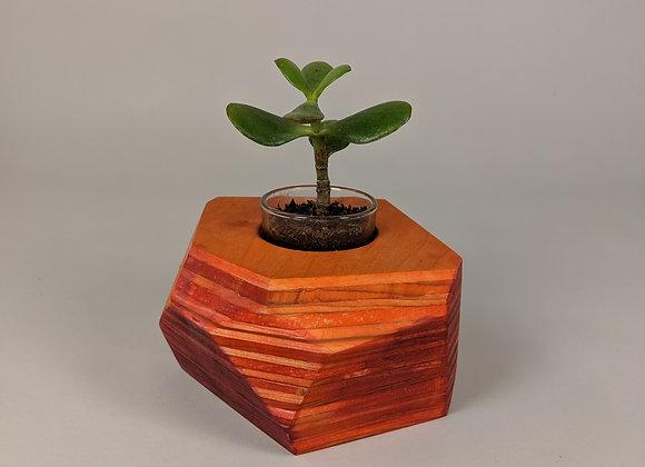 Geo Block | Orange + Fuchsia Dyed Plywood