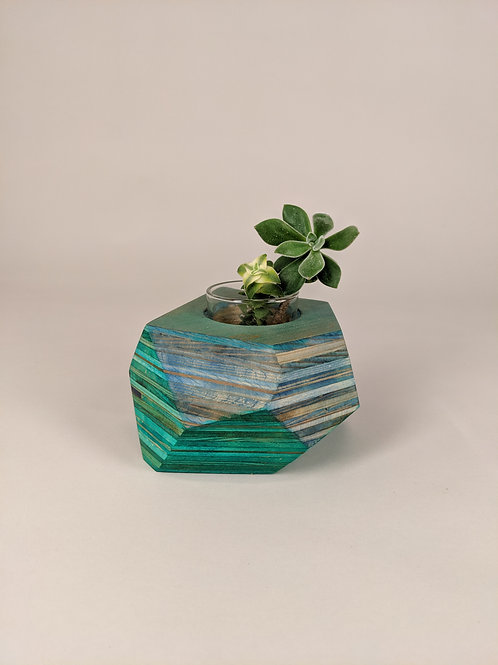 Geo Block   Blue + Green Dyed Plywood