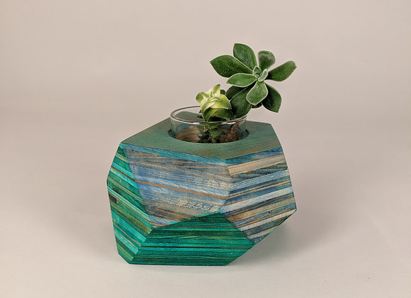 Geo Block | Blue + Green Dyed Plywood