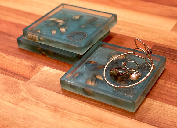 Coaster / Tray Set (3)   Aqua Tint Resin + Poplar Wood Curls