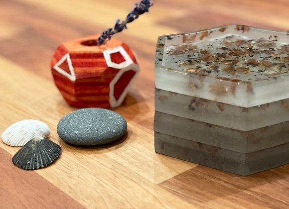 Coaster / Jewelry Tray Set (4) | Grey Tint Resin + Wood Shavings