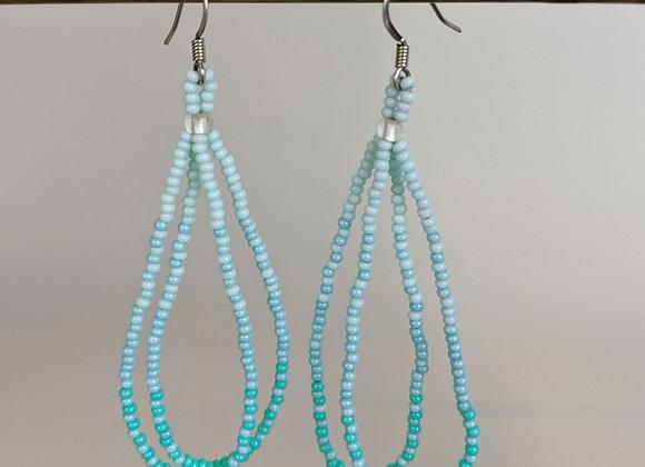 Pālua Drop | Waterfall Blue | Beaded Earrings