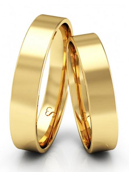 Par de Alianças de Casamento em Ouro 14K Quadrada 4 mm