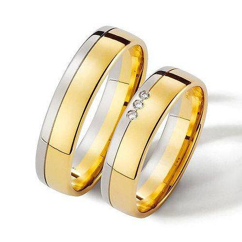Par de Alianças de Ouro 18K de Casamento 7 mm