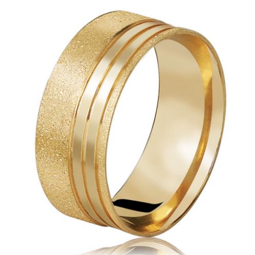 Par de Alianças de Casamento em Ouro 18K Trabalhada 7 mm