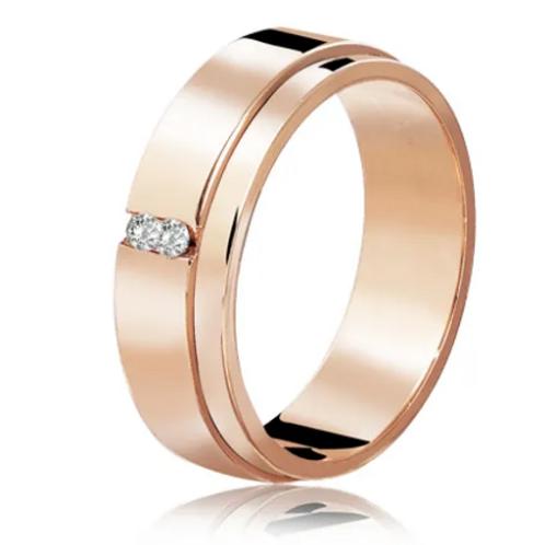 Par de Alianças de Casamento Tradicional em Ouro 18K Rosé