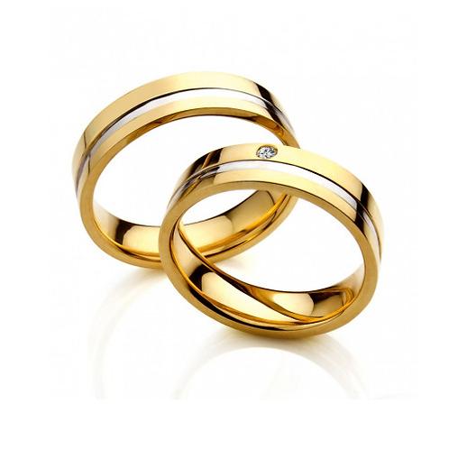 Par de Alianças Casamento em Ouro 18K com Friso Central 5,5 mm