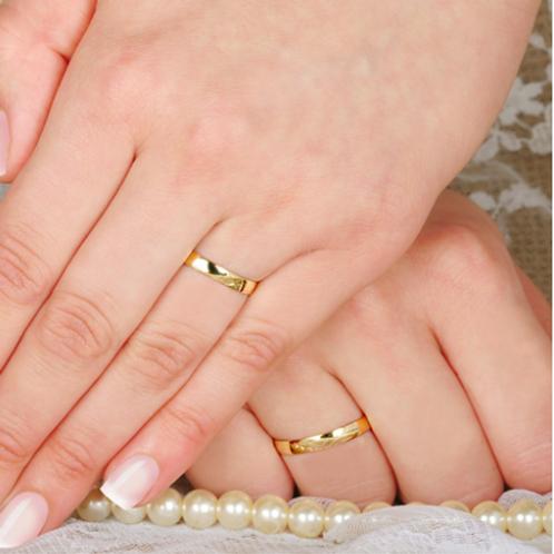 Par de Alianças de Casamento Ouro 14K 3 mm