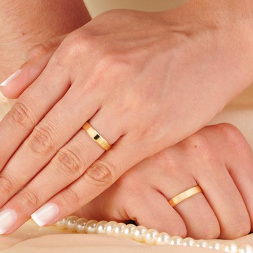 Par de Alianças Italiana de Casamento em Ouro 14K 4 mm