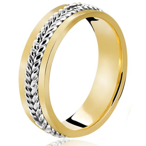 Par de Alianças de Casamento em Ouro 18K Trabalhado Corda 6 mm