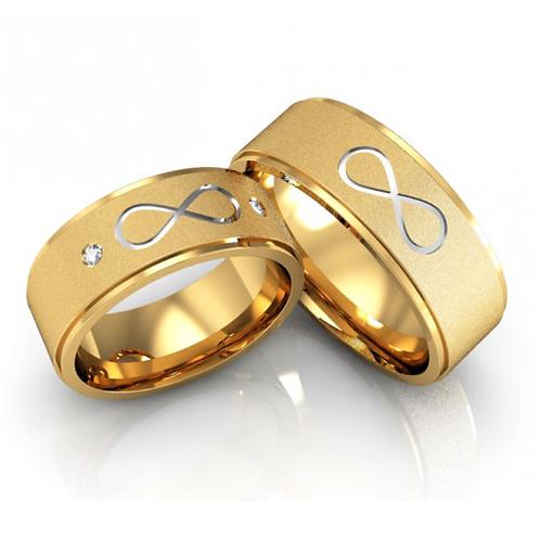 Par de Alianças Casamento Ouro 18K Trabalho Infinito 7 mm