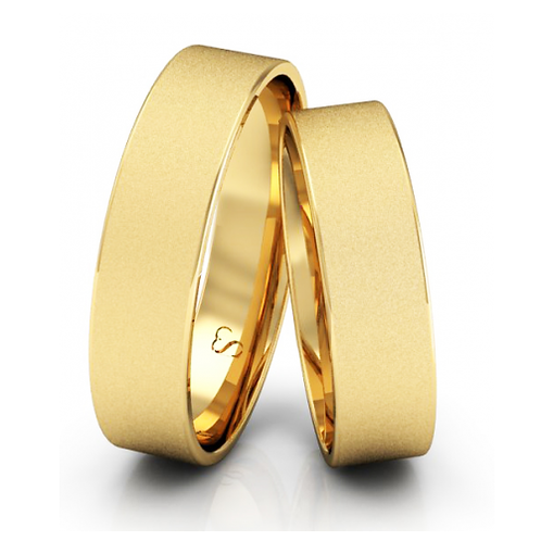 Par de Alianças Casamento Ouro 14K Diamantadas 5mm