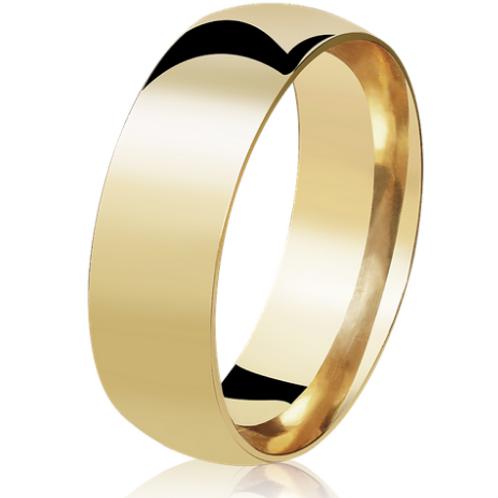 Par de Alianças de Casamento em Ouro 18K Tradicional 6 mm
