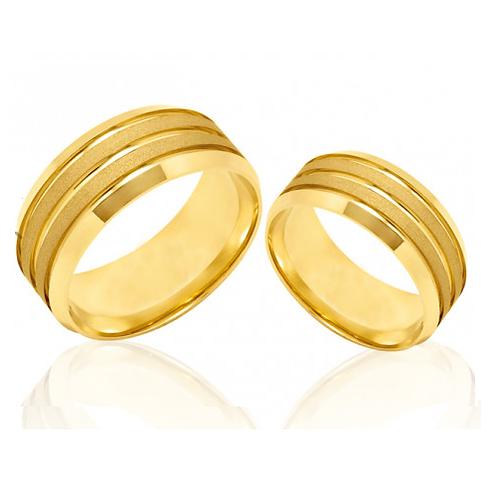 Par de Alianças Casamento Ouro Trabalhadas 7 mm
