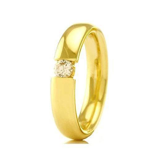 Par de Alianças de Casamento em Ouro 14K Tradicional Abaulada Interno