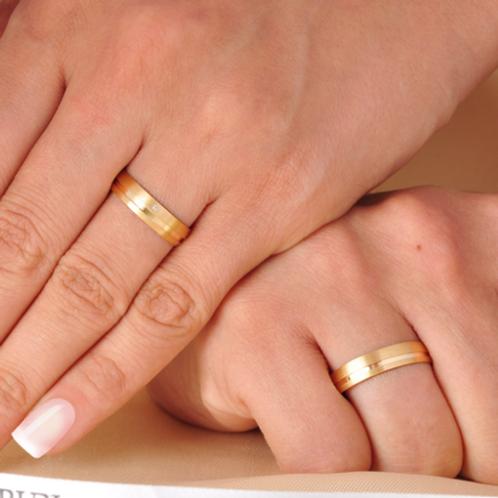 Par de Alianças de Casamento em Ouro 14K Trabalhada