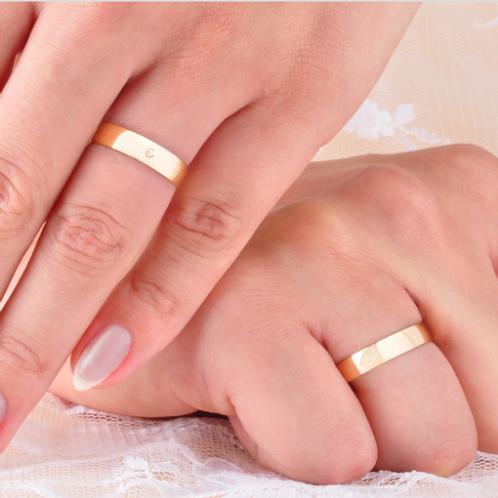 Par de Alianças de Casamento em Ouro 14K Tradicional
