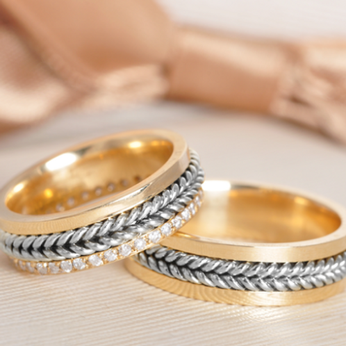 Par de Alianças de Casamento em Ouro 14K Trabalhado Corda 6 mm