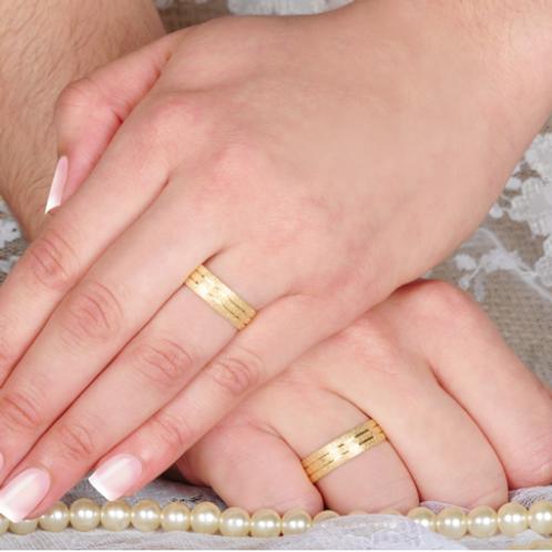 Par de Alianças de Casamento em Ouro 18K Trabalhada 5mm