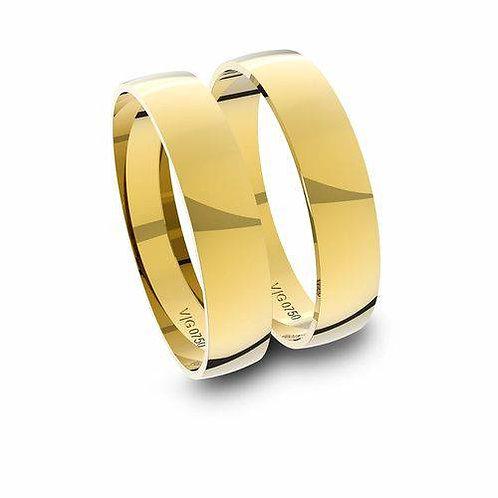 Par de Alianças de Casamento Ouro 14K com 4 mm