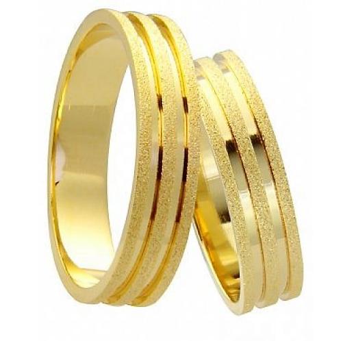 Par de Alianças Casamento em Ouro 14K Trabalhada 5mm