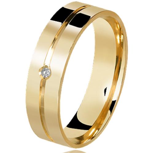Par de Alianças de Casamento em Ouro 14K Quadrada com Friso Central