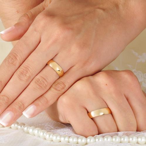 Par de Alianças de Casamento em Ouro 14K Tradicional 6 mm