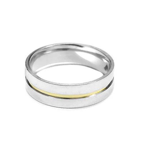 Aliança Reta de Prata c/ Filete de Ouro