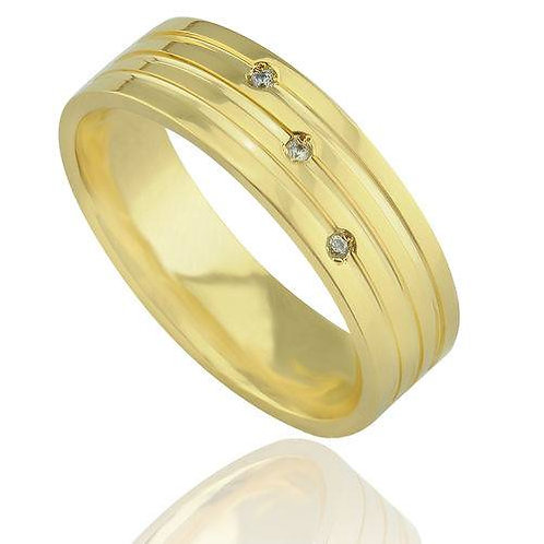 Par de Alianças de Casamento Trabalhada em Ouro 14K