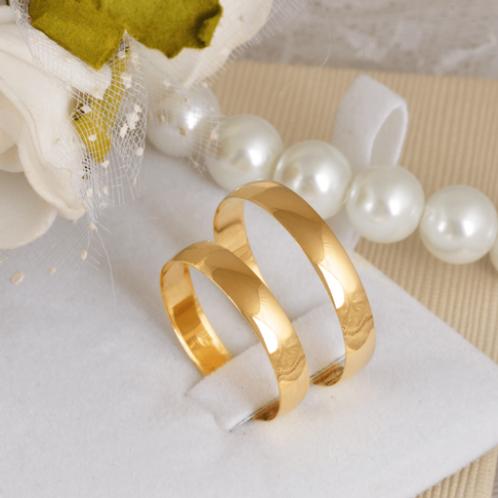 Par de Alianças de Casamento Ouro 14K Tradicional 3,7 m