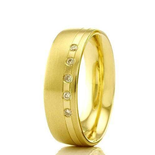Par de Alianças de Casamento em Ouro 14K Trabalhada 6 mm