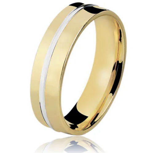 Par de Alianças de Casamento em Ouro 18K Trabalhada com Fio Branco