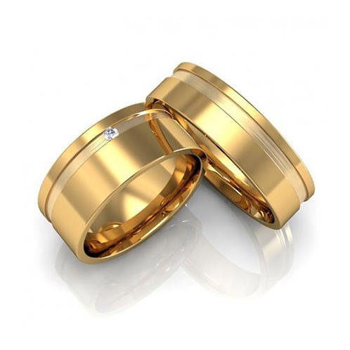 Par de Alianças Casamento Ouro 18K com Friso Lateral 8 mm
