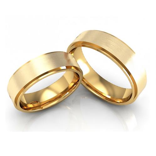 Par de Alianças de Casamento Ouro 18K Trabalhada 5 mm