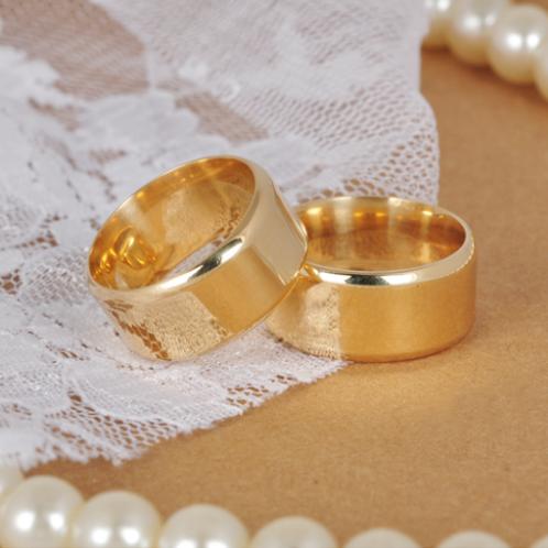 Par de Alianças de Casamento em Ouro 14K Lateral Arredondadas 9 mm
