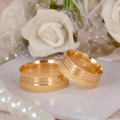 Par de Alianças de Casamento em Ouro 14K Trabalhada 7 mm