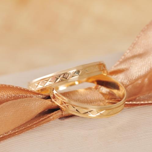 Par de Alianças Casamento Ouro 18K Trabalhada 3,5 mm