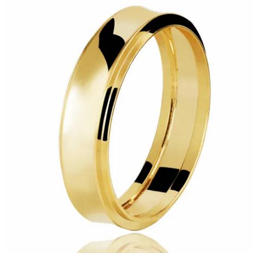 Par de Alianças de Casamento em Ouro 18K Côncava 5,5 mm