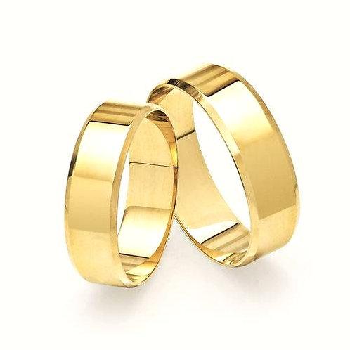 Par de Alianças Italiana de Casamento em Ouro 18K