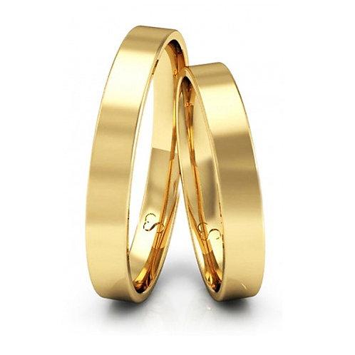 Par de Alianças Casamento Ouro 18K Polidas 3 mm