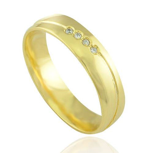 Par de Alianças Casamento Trabalhada Em Ouro 14K Friso Transversal