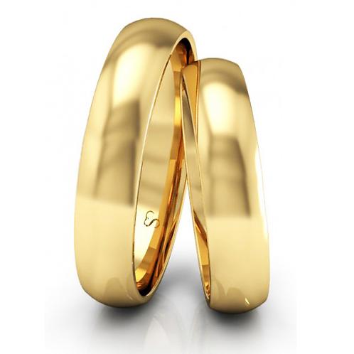 Par de Alianças de Casamento em Ouro 18K Tradicional 4 mm