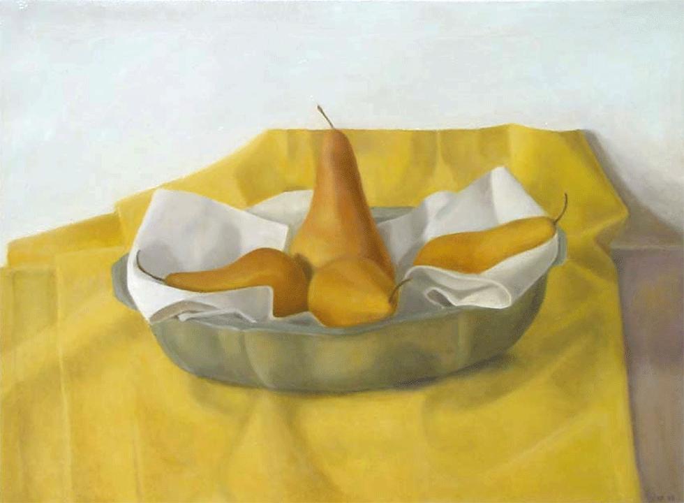 Isabelle de La Touche artiste peintre suisse - nature morte aux poires jaunes - huile sur toile