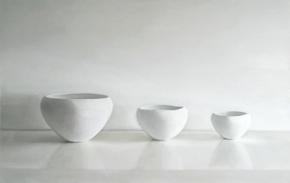 Isabelle de la Touche peintre suisse - nature morte - 3 bols blancs - huile sur toile et tempera