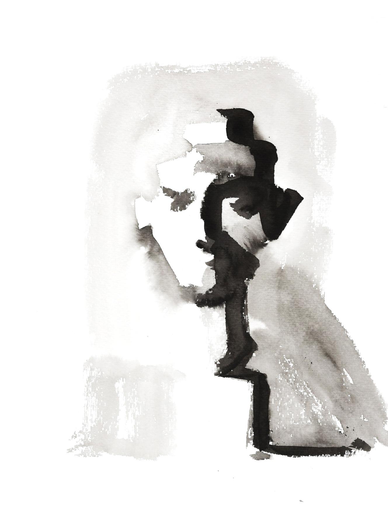 Isabelle de la Touche painter - Nefertiti sketch - black ink