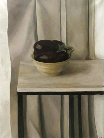 Isabelle de La Touche peintre vaudoise - Suisse - Mexique - St-Prex - nature morte aux aubergines