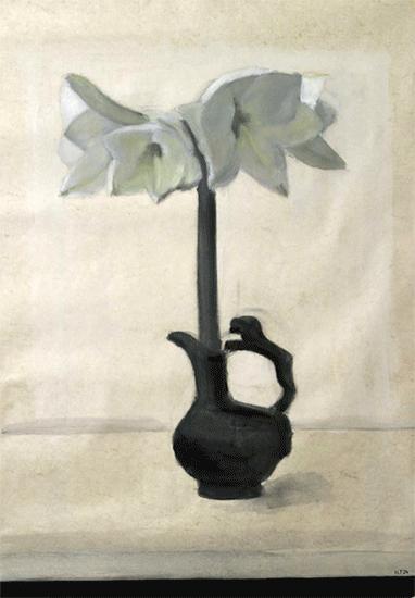 Isabelle de La Touche peintre suisse - Morges - amaryllis - huile sur papier