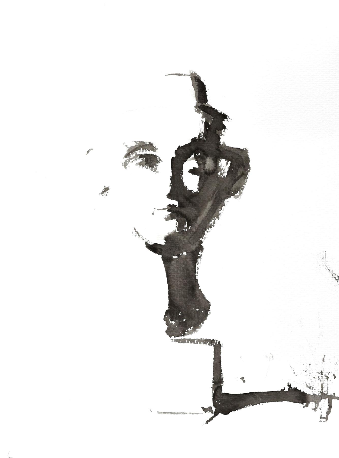 Isabelle de la Touche painter - Nefertiti bust - black ink
